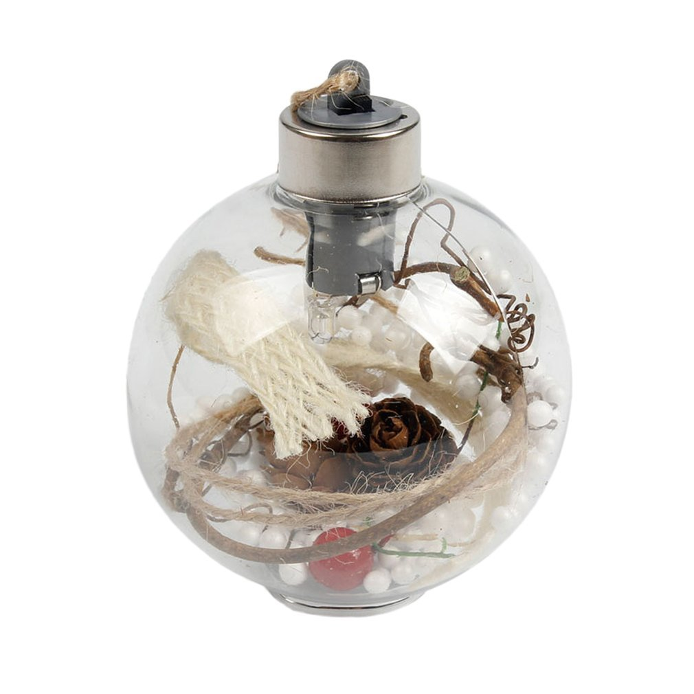 8cm Romantic Christmas Hanging LED Ball Transparent PVC Luminous Light Decoration Xmas Tree Ball Ornaments Gift 4 Types