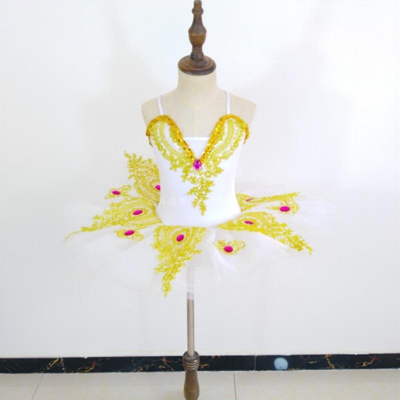 Г. Новое платье балетное для девочки слинг Лебедь танцевальный костюм белая газовая юбка представление пачка цветок девушки платья