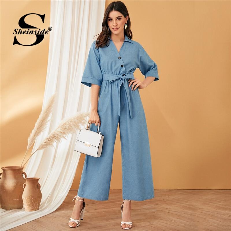 Sheinside Casual V Neck Button Up Detail Wide Leg Jumpsuit Women 2019 Autumn Blue Half Sleeve High Waist Belted Jumpsuits