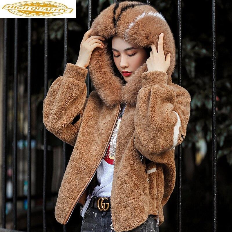Real Fur Coat Female Sheep Shearling Fur Korean Jackets 2020 Winter Jacket Women Fox Fur Collar 100% Wool Coats 4xl MY