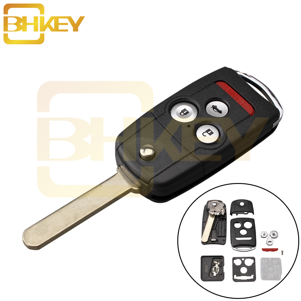BHKEY 3+1 Buttons Remote Flip Car Key Fob Shell Case w/ Uncut Blade For Honda/Accord/<font><b>Acura</b></font> TL <font><b>TSX</b></font> MDX RDX ZDX <font><b>2007</b></font> 2008 2009 image