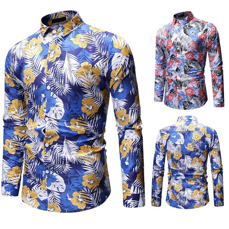 2020 New Summer Mens Long Sleeve Hawaiian Shirts Cotton Casual Floral Shirts Wave Regular Mens Clothing Fashion Print Coat