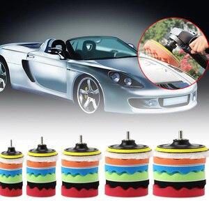 Image 2 - Neue 8 stück schönheit wachsen set Automotive Polieren Werkzeuge auto polieren disc schwamm polieren rad wolle pad 3/4/5/6/7 zoll