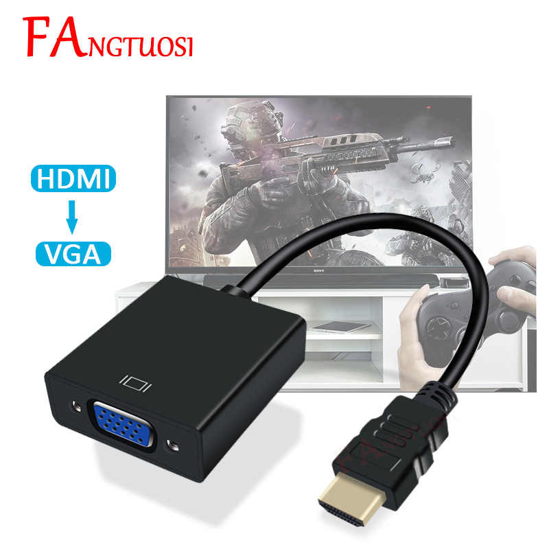 Fangtuosi HDMI untuk VGA Adapter Male To Famale Converter 1080P HDMI-VGA Adaptor dengan Audio Video Kabel Jack HDMI VGA untuk PC TV Box