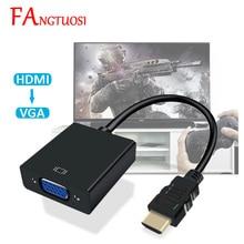 FANGTUOSI Adaptador de HDMI a VGA macho a hembra, adaptador de HDMI VGA de 1080P con toma de Video, Cable de Audio, HDMI, VGA, para PC, TV Box