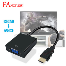 FANGTUOSI HDMI to VGA Adapter Male To Famale Converter 1080P HDMI VGA Adapter With Video Audio Cable Jack HDMI VGA For PC TV Box