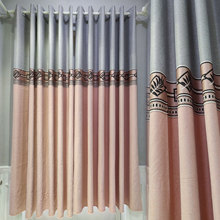 Modern Minimalist Curtains for Living Room Lace Stitching Short Curtain Solid Color Cotton and Linen Bedroom Floating Curtain modern simple cotton linen stereo embroidery curtain dolly curtain screen american country curtains for living room and bedroom