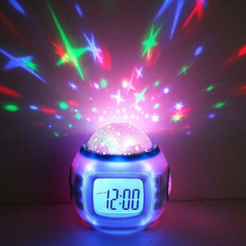 Alarma Digital LED para niños, reloj despertador con alarma luminosa de estrellas estrelladas para habitación de bebé, calendario, termómetro, proyector de luz nocturna