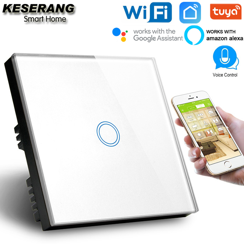 KESERANG,UK Standard 1gang Smart Wifi Switch 220V,Crystal Glass Panel Wifi Light Switch Smart Home Controller Works Google,Alexa-in Smart Remote Control from Consumer Electronics
