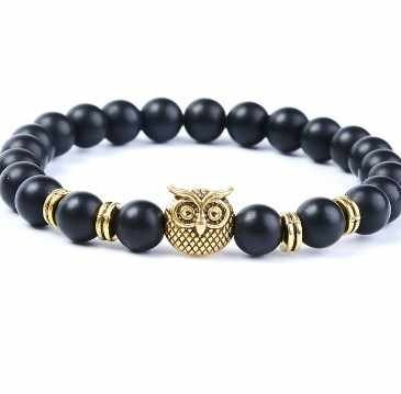 8mm adjusted silver gold Charm owl nature stone bead copper Frosted agate Onyx Bracelet fj53 Reiki Chakra Buddha Yoga