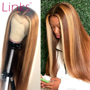 Links Wigs Human-Hair Remy-Highlight Lace-Front Brown Pre-Plucked Straight Ombre Women