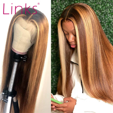 Links Lace Front Human Hair Wigs For Women Straight Brazilian Remy Highlight Ombre 27 brown Frontal Wig pre plucked
