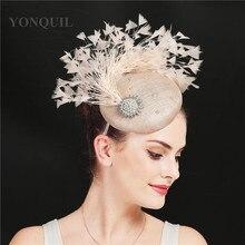 Women Fascinators Hat Nice 4-Layer Sinamay Feather Vintage Cocktail Church Headpiece Elegant Ladies Wedding Fedora Hats Headband