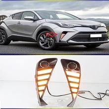 Luz LED de circulación diurna para coche Toyota C HR CHR, señal de giro dinámica, resistente al agua, ABS, DRL, 2 uds., 2020, 2021