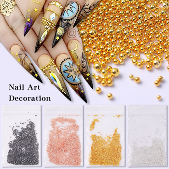 Rose Gold Silver Nail Art Tiny 3D DesignMini Steel Caviar Beads Multi-size Round Balls Jewelry Manicures DIY Decoration image