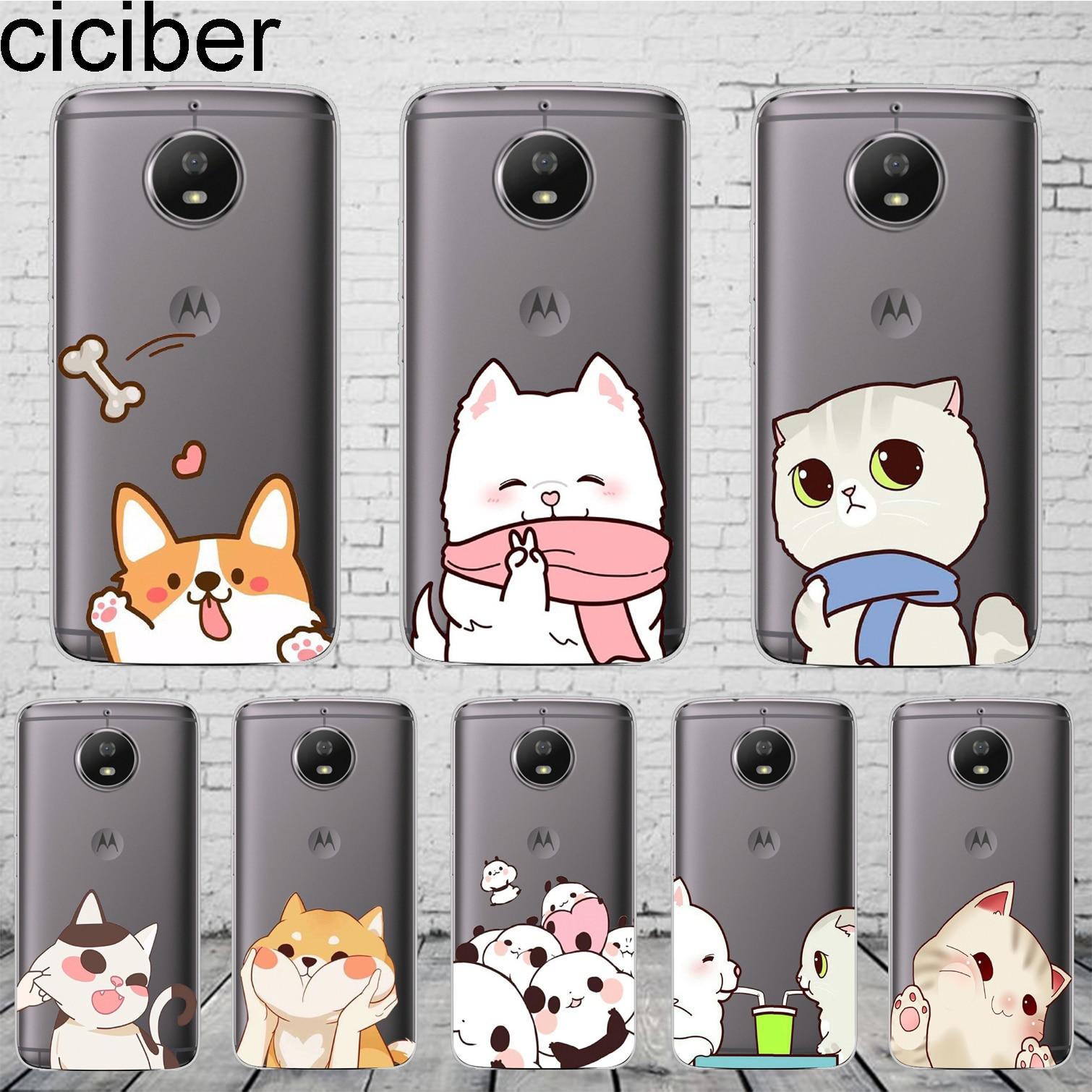 Cartoon Dog Cat Cover For Motorola Moto ONE C Z2 Z3 G5 G4 G5S G6 P30 E3 E4 E5 Plus Play Power X4 M Phone Cases Soft TPU