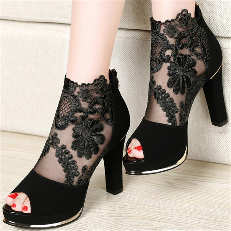 2020 Sexy Prom Wedding Shoes Sandals With Coarse Heels Spring And Summer New European American Waterproof Mesh Gauze Shoes  X17