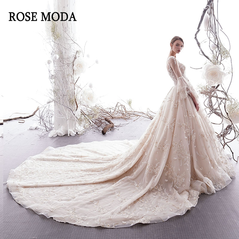 Rose Moda Luxury Long Sleeves Lace Wedding Dress With Long Train Crystal Beaded Bridal Gown Lace Up Back