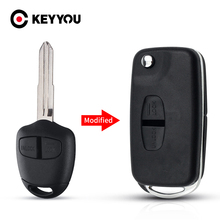 KEYYOU Flip Key 2 Buttons Modified Folding Remote Key Shell Right Blade Case For Mitsubishi New ASX GRANDIS Outlander LANCER-EX
