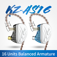 KZ AS16 16BA Units Balanced Armature Hifi Bass In Ear Monitor Earphones Noise Cancelling Earbuds Headphones For TIN P1 ZS10 ZSX