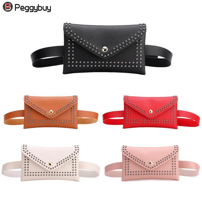 Punk Solid Color Rivet Waist Bag PU Leather Chest Fanny Pack Women Belt Bag