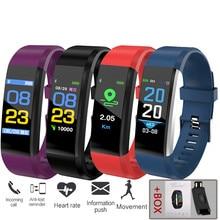115 além disso relógio inteligente freqüência cardíaca pressão arterial banda inteligente rastreador de fitness smartband bluetooth pulseira para fitbits inteligente bracele