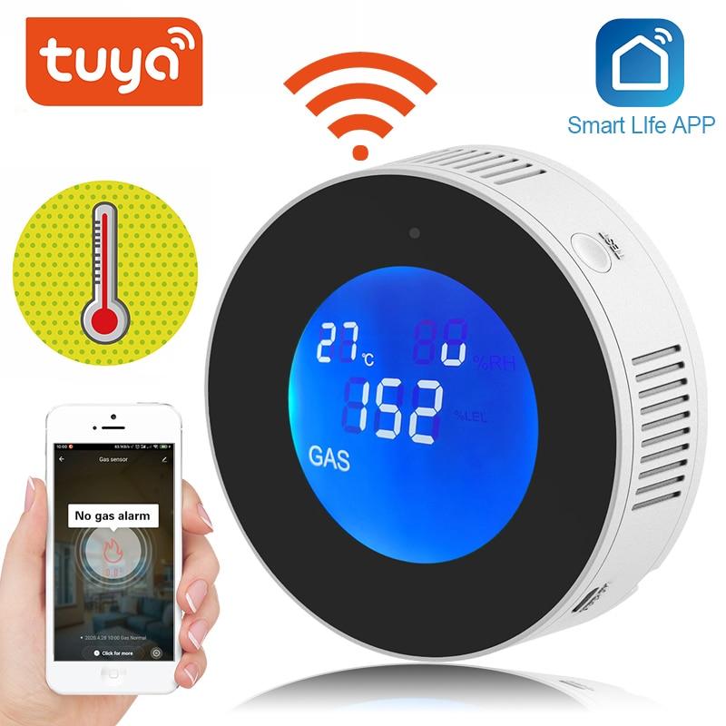 Tuya wi fi detector de vazamento gás inteligente display lcd sensor vazamento alarme de segurança automação residencial vida inteligente controle app