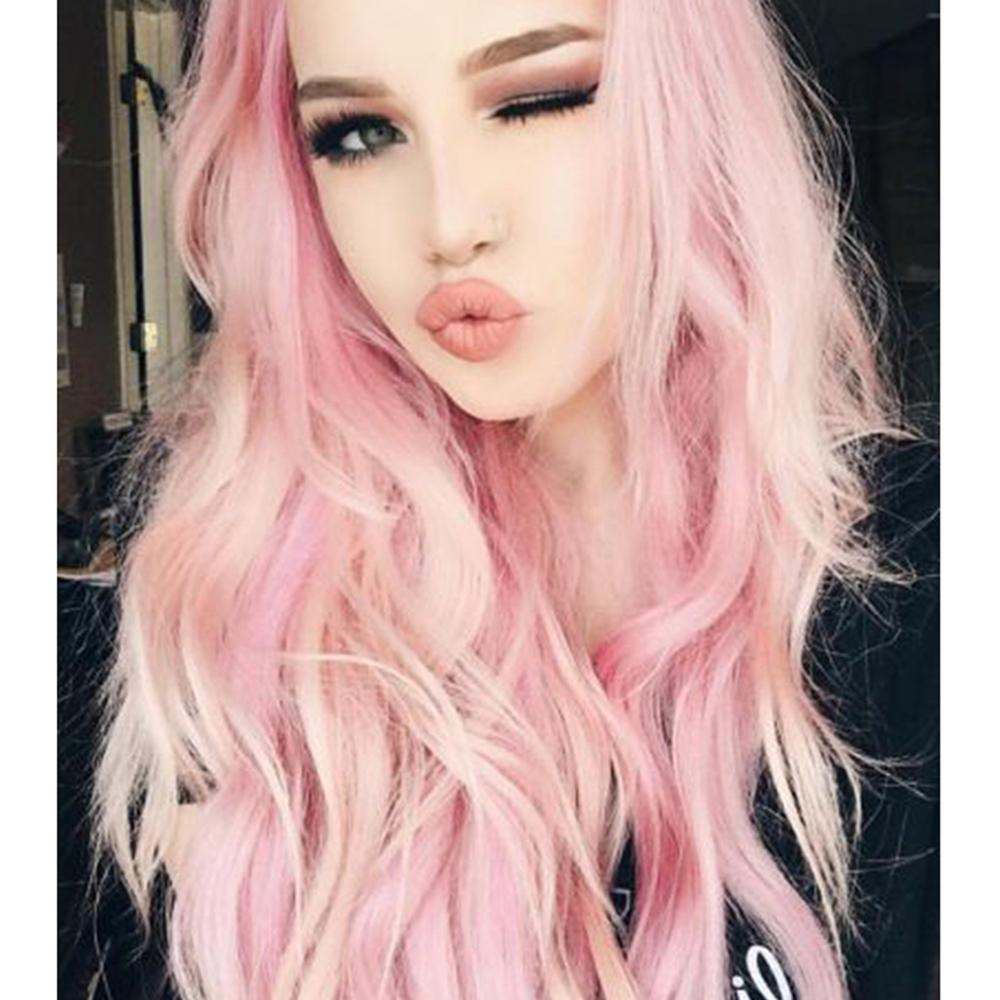 HUAYA Pink Wigs Long Wavy Curly  Heat-resistant Fiber Synthetic Wig  Women's Party Cosplay Wigs  Pink White Mixed Color