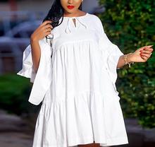 Kobiety luźna koszula sukienki elegancka elegancka biurowa damska lato Lace Up 2021 ponadgabarytowych duży rozmiar XXXL moda afryki kobiet nowy tanie tanio AOMEI LOOSE CN (pochodzenie) Z okrągłym kołnierzykiem Rękaw-dzwon Łuk Na co dzień Powyżej kolana mini COTTON POLIESTER