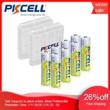 8 stücke PKCELL Batterie NIMH AA 2600Mah 1,2 V 2A Ni Mh aa Akkus AA Bateria Baterias + 2 stücke Batterie Halten Fall Boxen