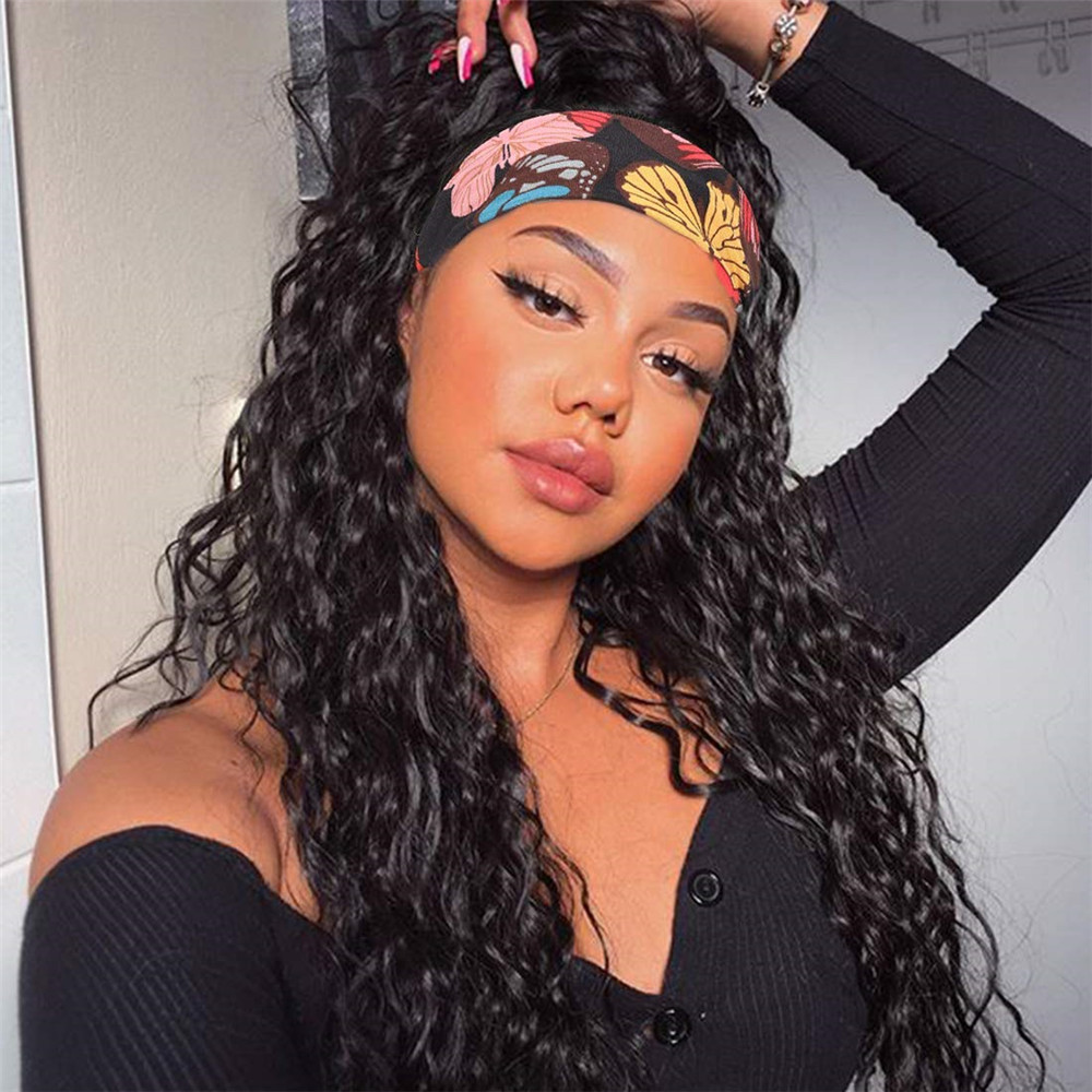 Headband Human Hair Wig Water Wave Glueless Human Hair Wigs With Pre-attached Scarf Non Lace Front Wigs for women 150% Density