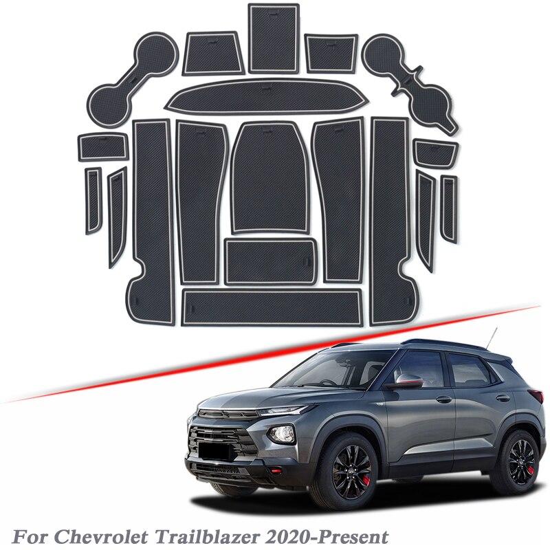 19 pièces style de voiture pour Chevrolet Trailblazer 2020-présentlatex porte fente tapis intérieur porte rainure tapis antidérapant tapis de poussière accessoire