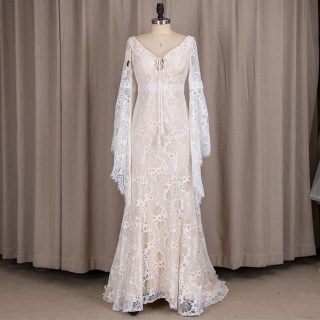 803#2021 New Design Long Lantern Sleeve Empire V-Neck Backless Small Train Beauty Backless Lace Boho Beach Wedding Dresses Women 5