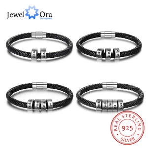 Jewelora Bracelets Beads Custom 925-Sterling-Silver Personalized Charm Men for Black
