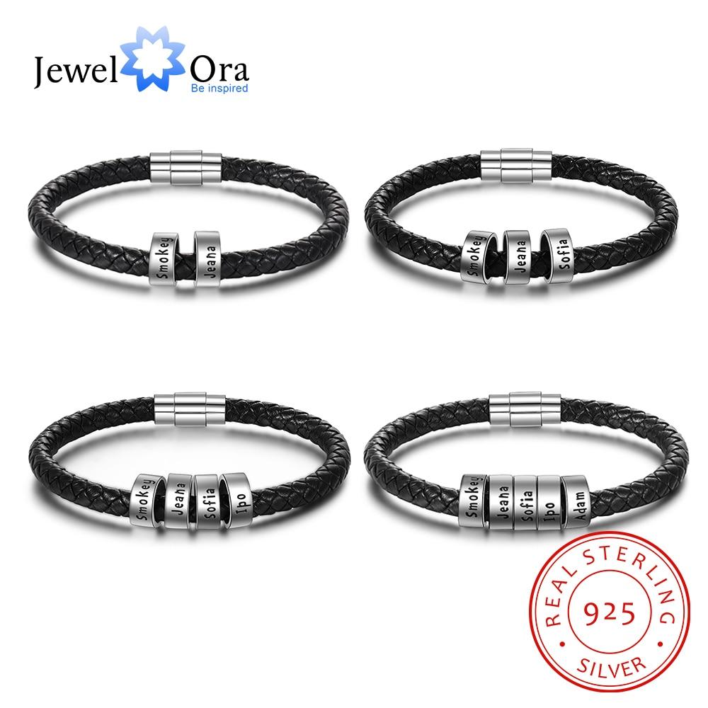 JewelOra 925 Sterling Silver Personalized Custom 2- 5 Names Beads Bracelets For Men Charm Black Braided Leather Bracelet Jewelry