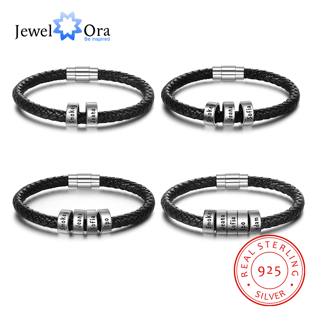 JewelOra 925 Sterling Silver Personalized Custom Name Beads Bracelets for Men Charm Black Braided Rope Leather Bracelet Jewelry