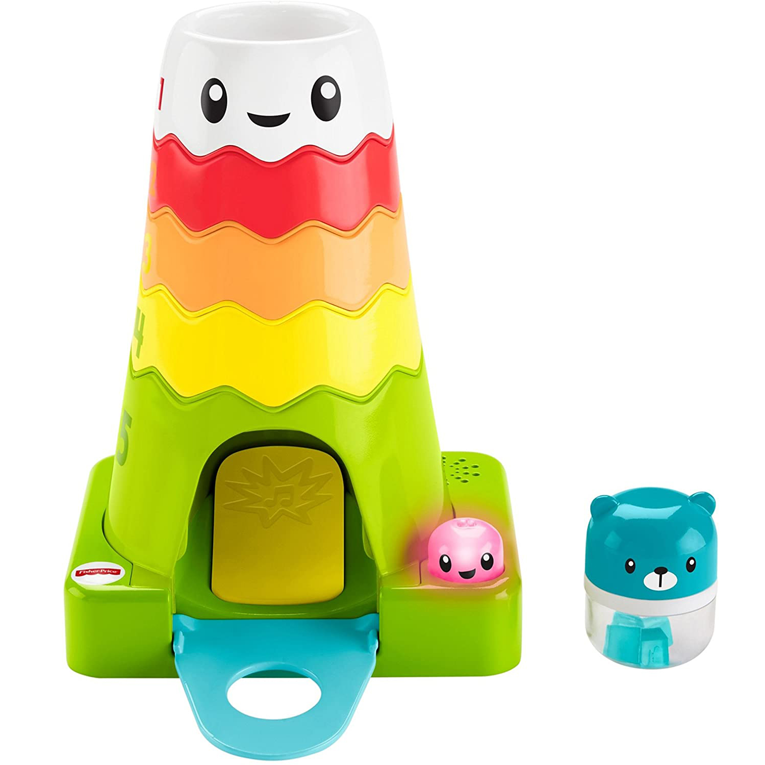 Fisher-Price Stack & Slide Magic Mountain Baby Toys Early Childhood Education Toys Glow and Music