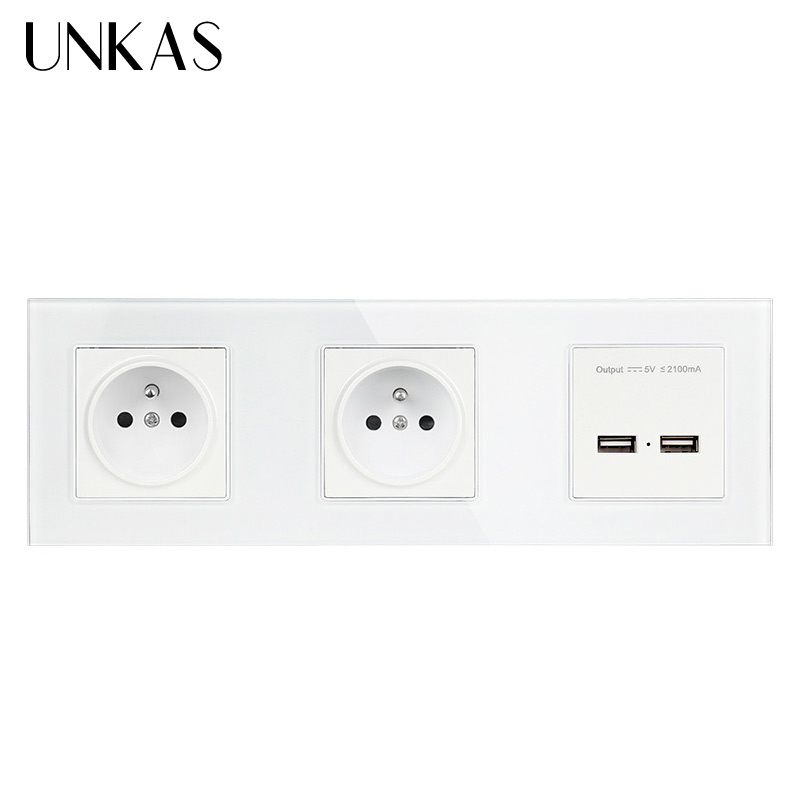 Norme française UNKAS, Double prise/prise électrique/électrique à 2 voies avec Double Port USB prise 2100mA avec Usb