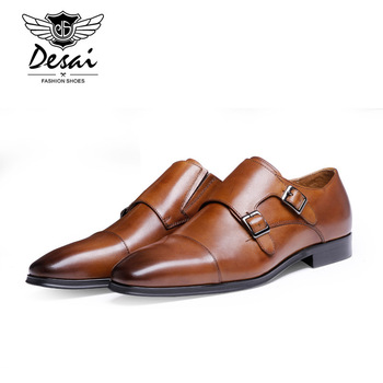 DESAI Brand Luxury Genuine Leather Men Oxford Shoes Pointed Toe Men Dress Shoes With Double Buckle Male Wedding Shoes Men Sneake