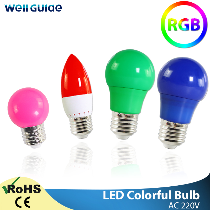 Led Bulb E27 E14 3W 5W 7W LED Lamp RGB A60 A50 G45 C35 Led Candle Light Colorful SMD 2835 AC 220V 240V Flashlight Globe Bulb
