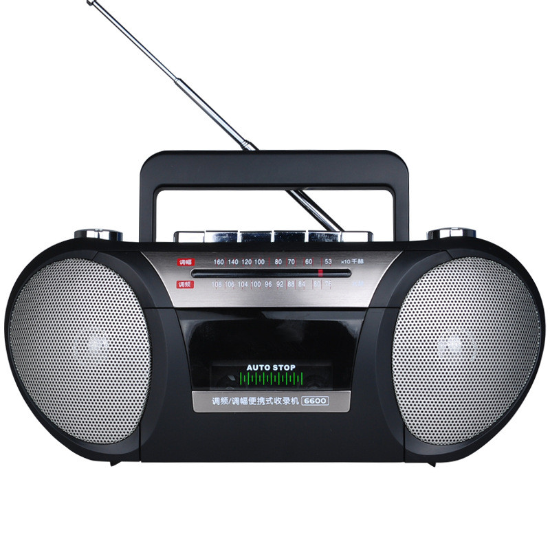 Portable Tape Cassette Player FM AM Two Band Radio Play Record Double Speaker Sound AC DC Dual Mode Speakers Recorder Machine