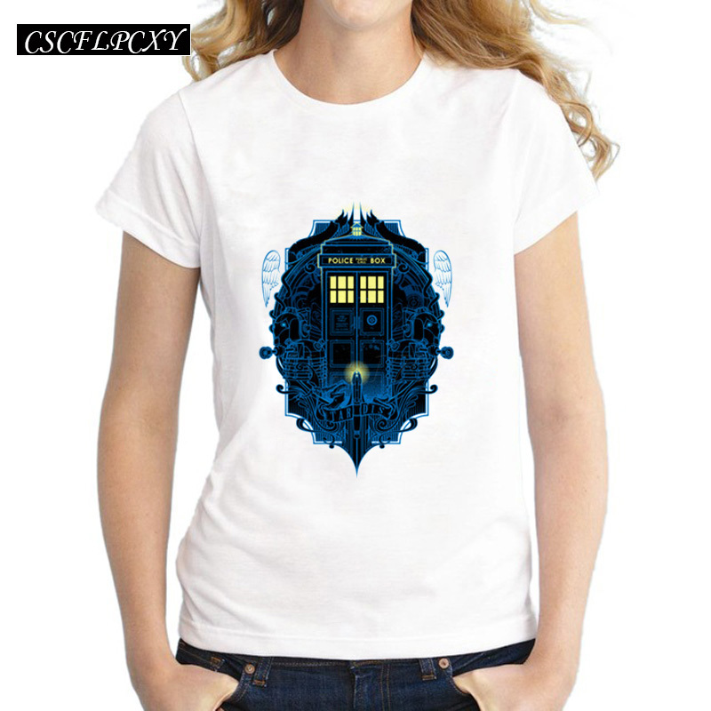 Cheapest Women DR WHO T Shirt Doctor Who Police Box Printed Lady Casual Tops Fashion Short Sleeve Hipster Slim Tee Shirts
