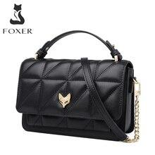 FOXER Original Split Leder Büro Frauen Messenger Bag Stilvolle Dame Geldbörse Unregelmäßigen Klassische Klappe Elegante Weibliche Schulter Tasche
