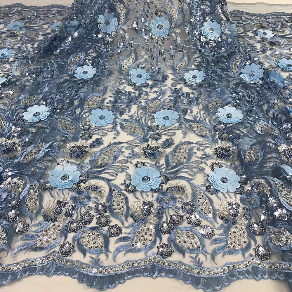 Powder blue nigerian lace fabric sequin 3d flower african french lace fabrics high quality tulle net lace fabric for wedding