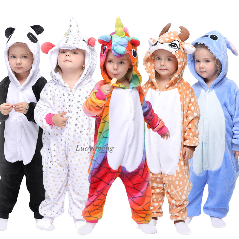 Kigurumi Onesies For Kids Girls Anime Unicorn Pajamas Boys Cartoon Sleepwear Cat Panda Costumes Stitch Overalls Children Pajamas