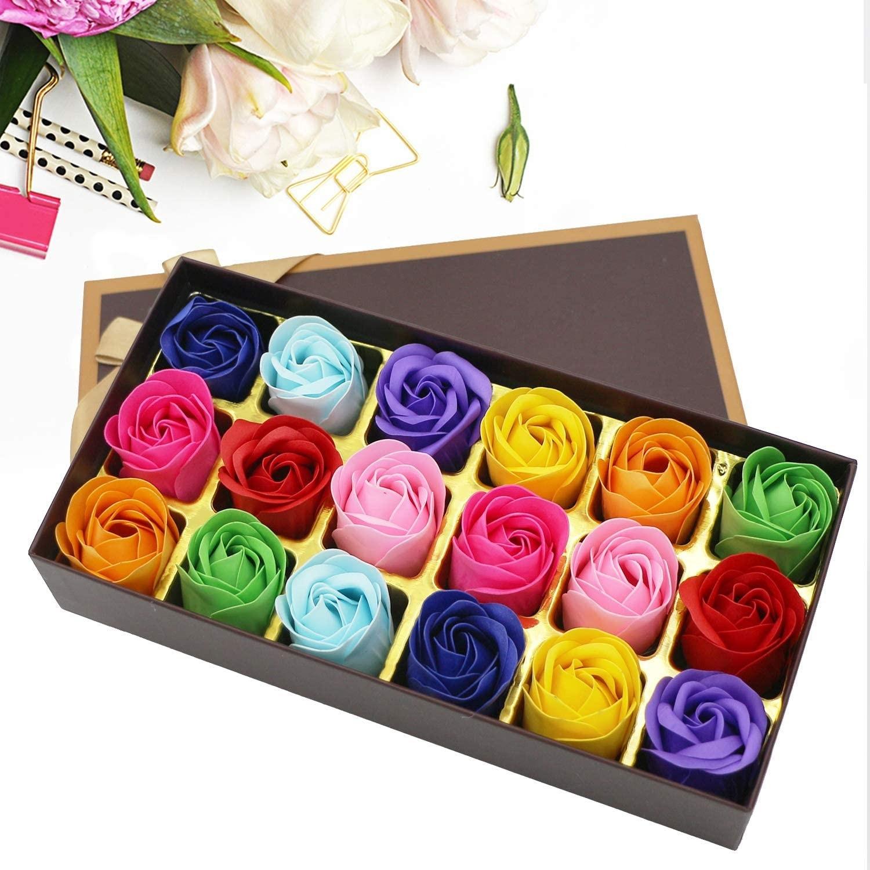 18 pçs scented rosa flor pétala banho corpo sabão festa de casamento presente do dia dos namorados decoração de casa segurando flores flor de jabon