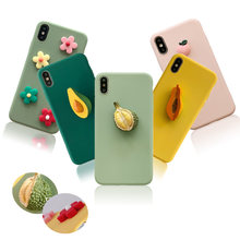 HOT 3D Fruit Peach Avocado Durian Silicone Phone Case for Samsung A10 A20 A30 A40 A50 Galaxy Note 10 Pro 9 8 S10 Lite S9 Plus S8(China)
