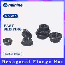 Flange Nut Black Flower-Nut Hexagonal M4 M10 M12 M5 M6 M8 M3 Zinc DIN6923 Anti-Skid