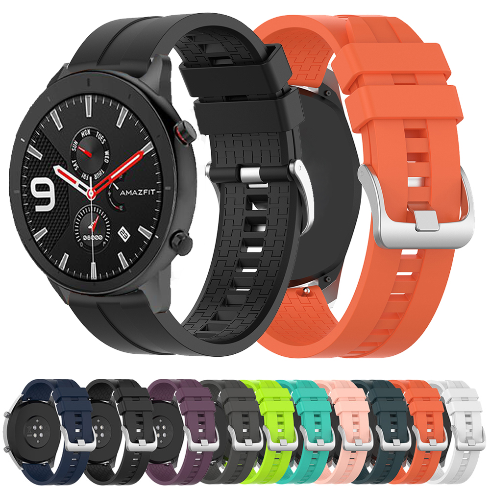 22mm Silicone WatchBand For Huawei Watch GT Galaxy Active2 44mm Strap Silicone Bands Sports For Amazift Pace Watch Wrist Straps
