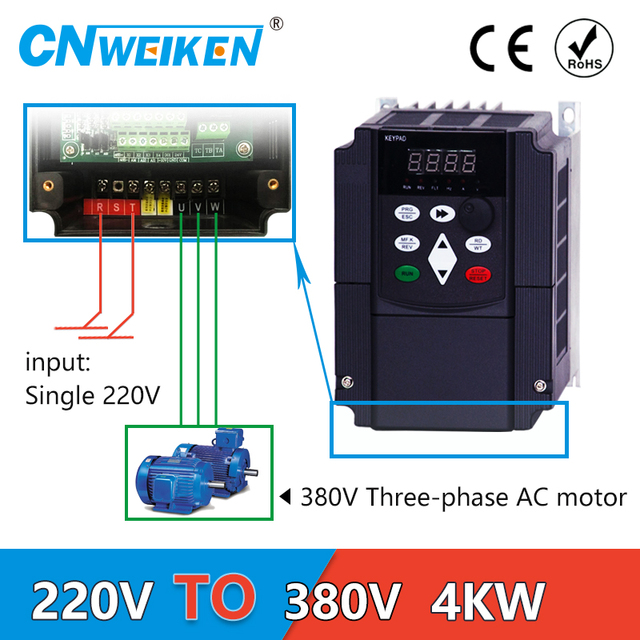 4KW VFDตัวแปลงแรงดันไฟฟ้าอินเวอร์เตอร์ 220V to 380Vเฟสเดียว 220V 3 เฟส 380V AC Power TRANSFORMER
